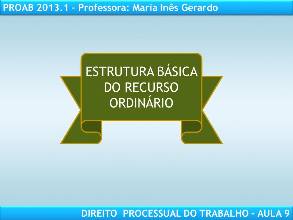 RESPONSABILIDADE CIVIL AULA 1 PROAB 2013.1 – Professora: Maria Inês Gerardo DIREITO PROCESSUAL DO TRABALHO – AULA 9 ESTRUTURA BÁSICA DO RECURSO ORDINÁ
