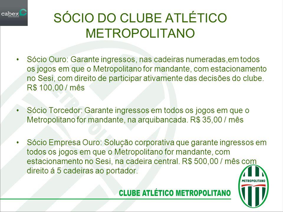 SÓCIO DO CLUBE ATLÉTICO METROPOLITANO •Sócio Ouro: Garante ingressos, nas cadeiras numeradas,em todos os jogos em que o Metropolitano for mandante, co