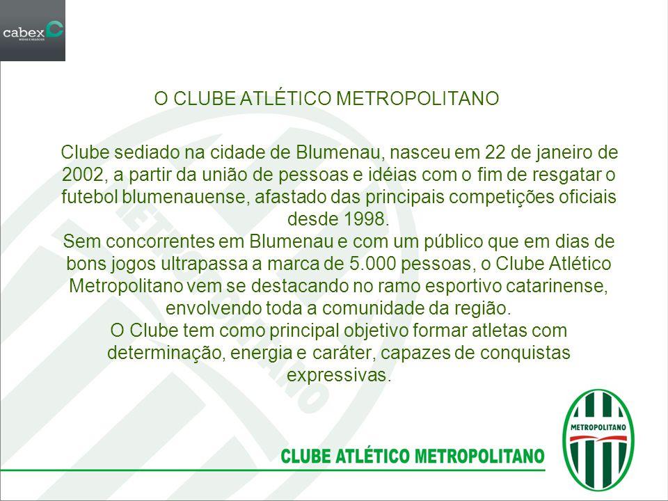O CLUBE ATLÉTICO METROPOLITANO Clube sediado na cidade de Blumenau, nasceu em 22 de janeiro de 2002, a partir da união de pessoas e idéias com o fim d