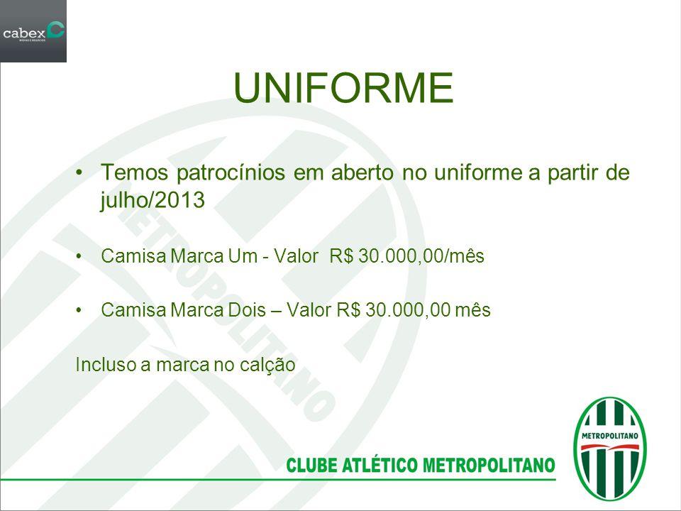 UNIFORME •Temos patrocínios em aberto no uniforme a partir de julho/2013 •Camisa Marca Um - Valor R$ 30.000,00/mês •Camisa Marca Dois – Valor R$ 30.00