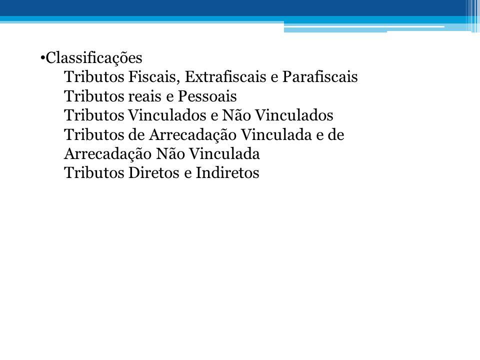 • Classificações Tributos Fiscais, Extrafiscais e Parafiscais Tributos reais e Pessoais Tributos Vinculados e Não Vinculados Tributos de Arrecadação V