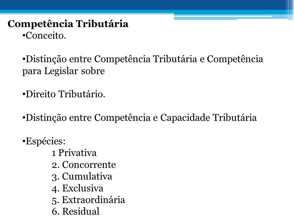 Competência Tributária • Conceito. • Distinção entre Competência Tributária e Competência para Legislar sobre • Direito Tributário. • Distinção entre