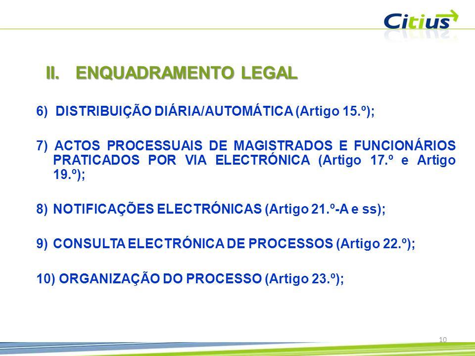 10 6) DISTRIBUIÇÃO DIÁRIA/AUTOMÁTICA (Artigo 15.º); 7) ACTOS PROCESSUAIS DE MAGISTRADOS E FUNCIONÁRIOS PRATICADOS POR VIA ELECTRÓNICA (Artigo 17.º e Artigo 19.º); 8)NOTIFICAÇÕES ELECTRÓNICAS (Artigo 21.º-A e ss); 9)CONSULTA ELECTRÓNICA DE PROCESSOS (Artigo 22.º); 10) ORGANIZAÇÃO DO PROCESSO (Artigo 23.º); II.ENQUADRAMENTO LEGAL
