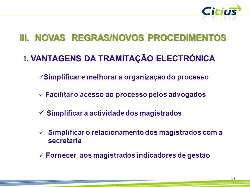 III.NOVAS REGRAS/NOVOS PROCEDIMENTOS 1.