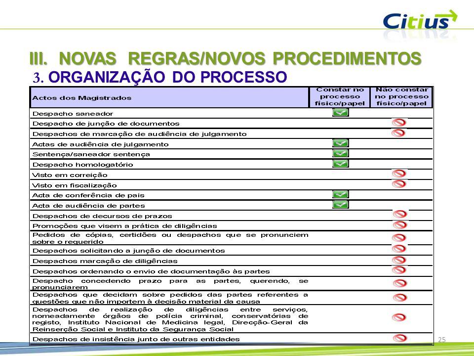 3. ORGANIZAÇÃO DO PROCESSO III.NOVAS REGRAS/NOVOS PROCEDIMENTOS 25