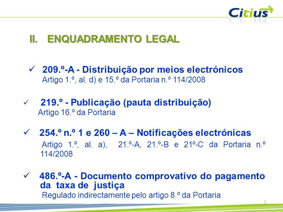  219.º - Publicação (pauta distribuição) Artigo 16.º da Portaria  254.º n.º 1 e 260 – A – Notificações electrónicas Artigo 1.º, al.