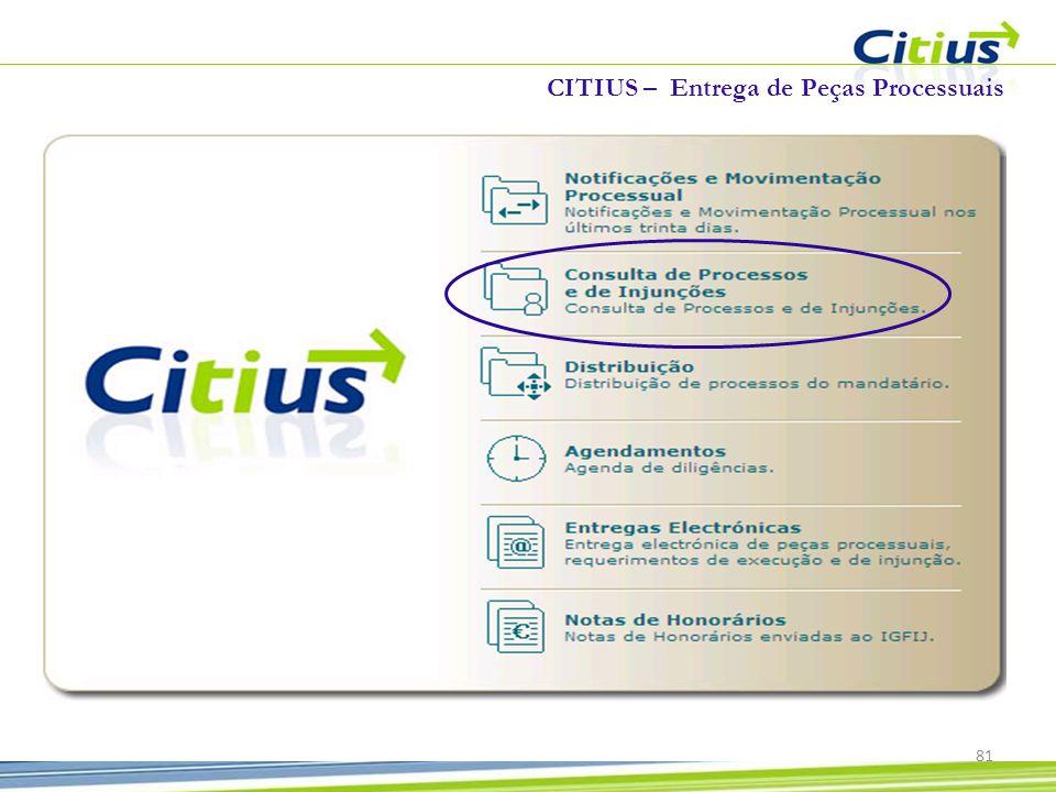 81 CITIUS – Entrega de Peças Processuais