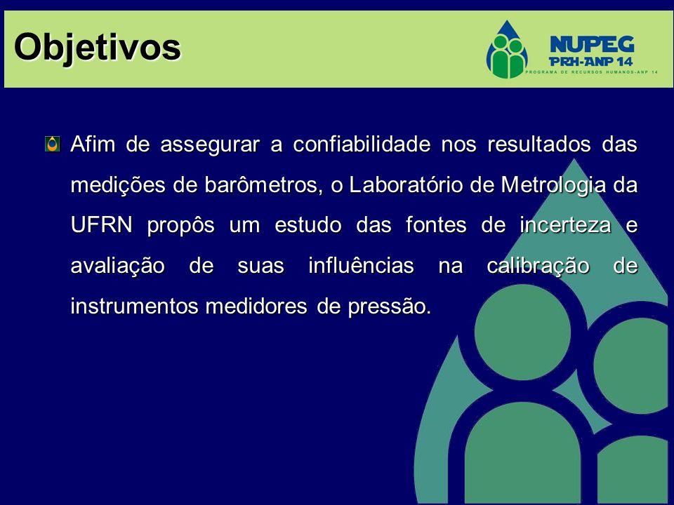 Objetivos Afim de assegurar a confiabilidade nos resultados das medições de barômetros, o Laboratório de Metrologia da UFRN propôs um estudo das fonte