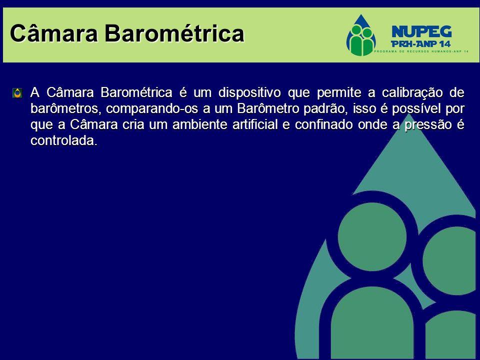 Câmara Barométrica A Câmara Barométrica é um dispositivo que permite a calibração de barômetros, comparando-os a um Barômetro padrão, isso é possível