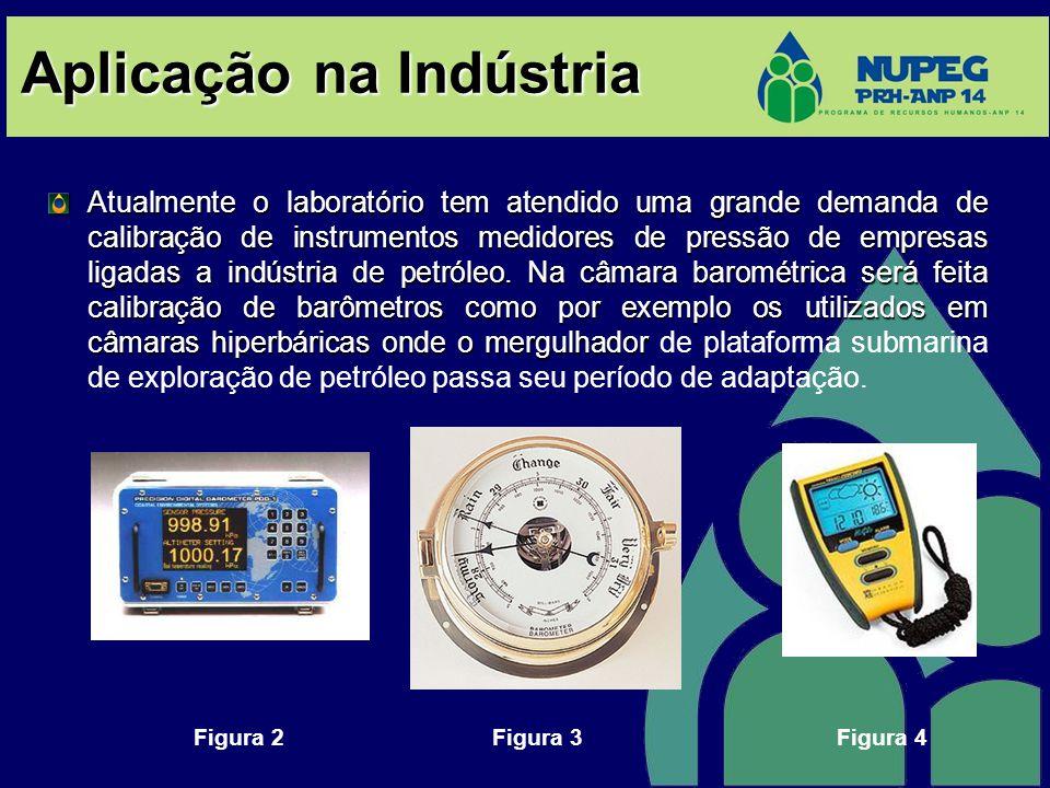 Aplicação na Indústria Atualmente o laboratório tem atendido uma grande demanda de calibração de instrumentos medidores de pressão de empresas ligadas