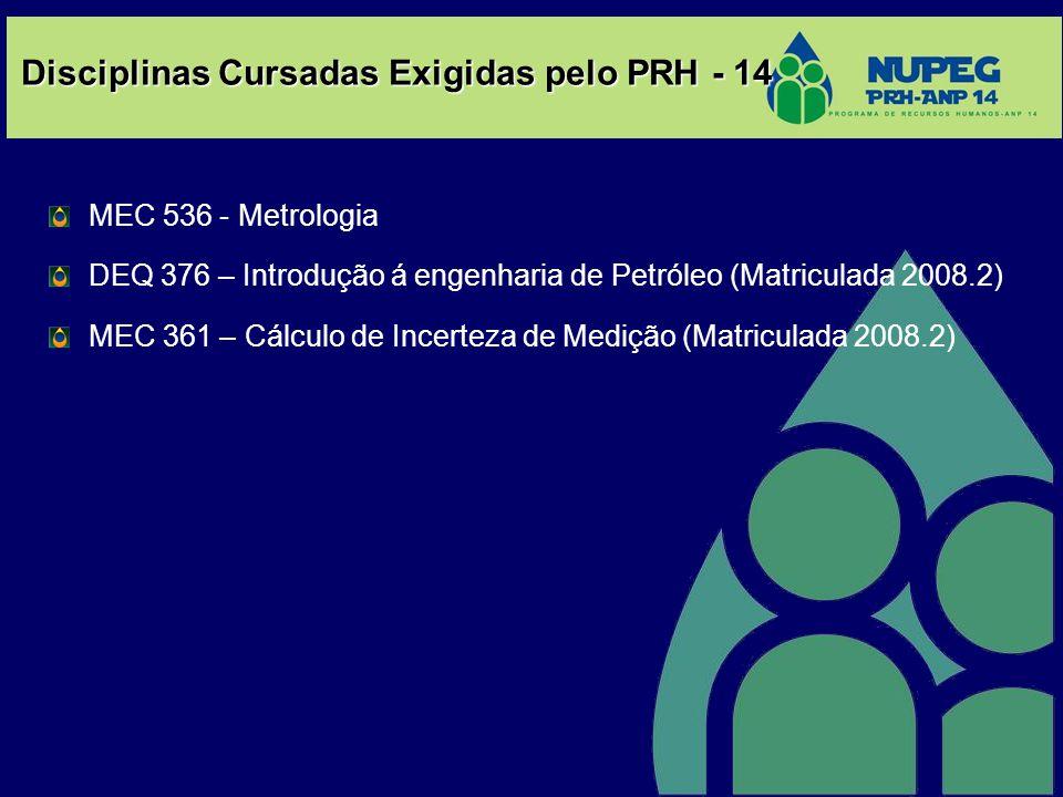 Disciplinas Cursadas Exigidas pelo PRH - 14 MEC 536 - Metrologia DEQ 376 – Introdução á engenharia de Petróleo (Matriculada 2008.2) MEC 361 – Cálculo