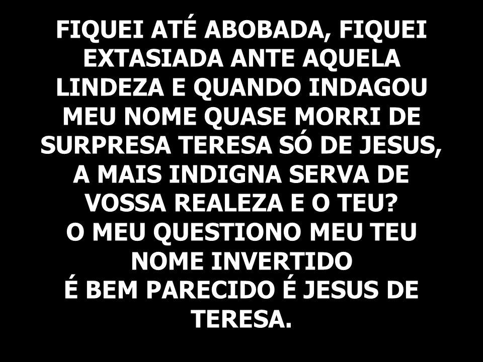 FIQUEI ATÉ ABOBADA, FIQUEI EXTASIADA ANTE AQUELA LINDEZA E QUANDO INDAGOU MEU NOME QUASE MORRI DE SURPRESA TERESA SÓ DE JESUS, A MAIS INDIGNA SERVA DE