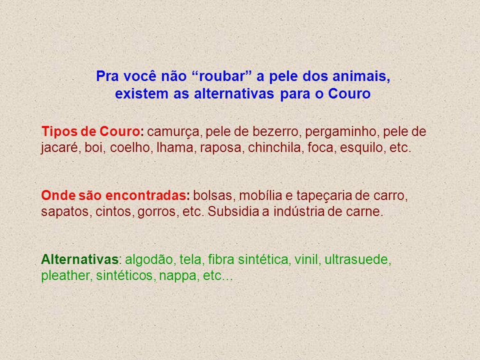 Pra você não roubar a pele dos animais, existem as alternativas para o Couro Tipos de Couro: camurça, pele de bezerro, pergaminho, pele de jacaré, boi, coelho, lhama, raposa, chinchila, foca, esquilo, etc.