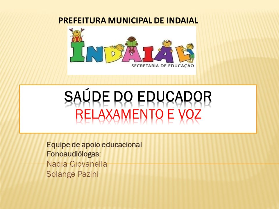 Equipe de apoio educacional Fonoaudiólogas: Nadia Giovanella Solange Pazini PREFEITURA MUNICIPAL DE INDAIAL