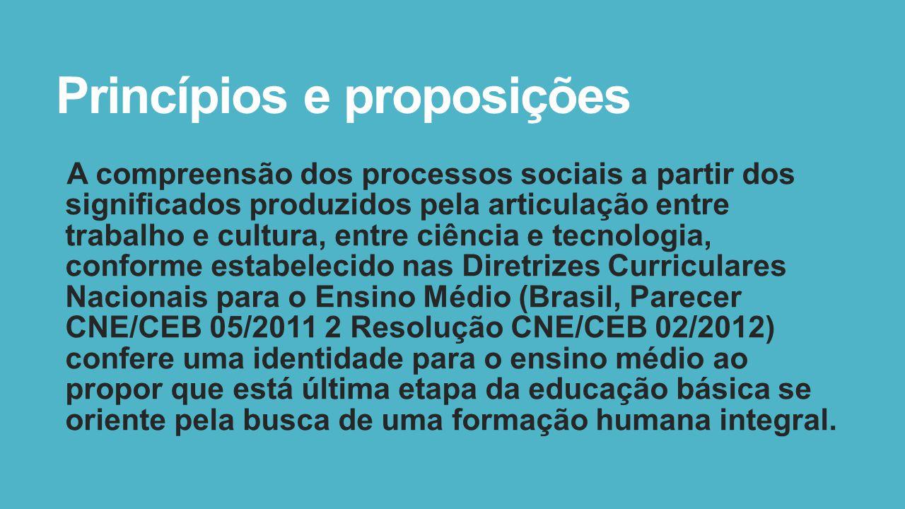 Princípios e proposições A compreensão dos processos sociais a partir dos significados produzidos pela articulação entre trabalho e cultura, entre ciê