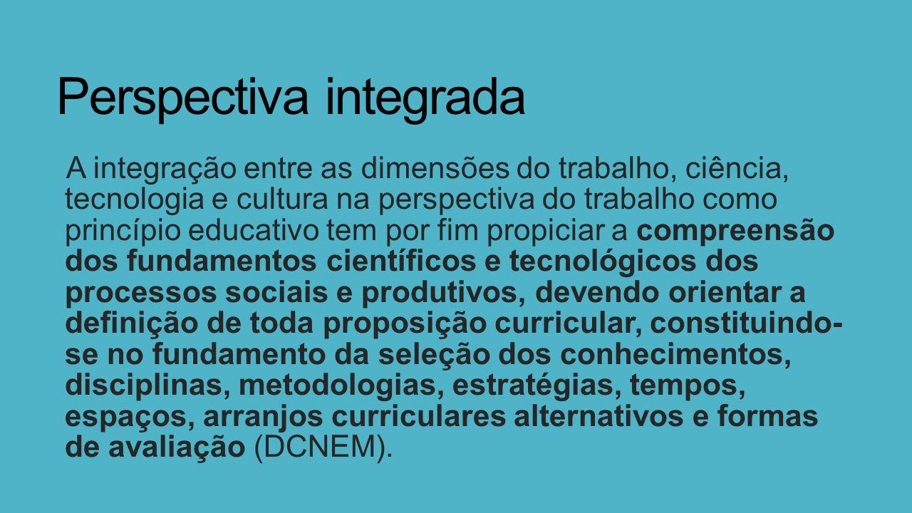 Perspectiva integrada A integração entre as dimensões do trabalho, ciência, tecnologia e cultura na perspectiva do trabalho como princípio educativo t