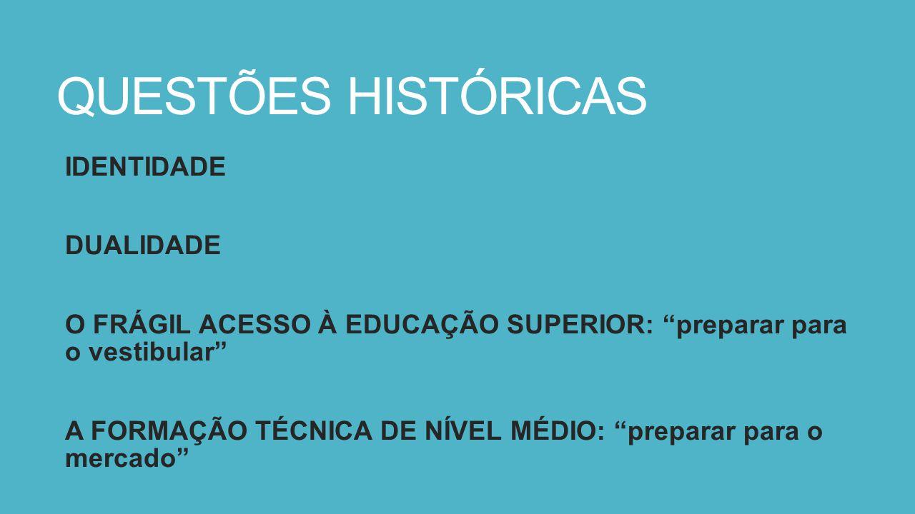"""QUESTÕES HISTÓRICAS IDENTIDADE DUALIDADE O FRÁGIL ACESSO À EDUCAÇÃO SUPERIOR: """"preparar para o vestibular"""" A FORMAÇÃO TÉCNICA DE NÍVEL MÉDIO: """"prepara"""