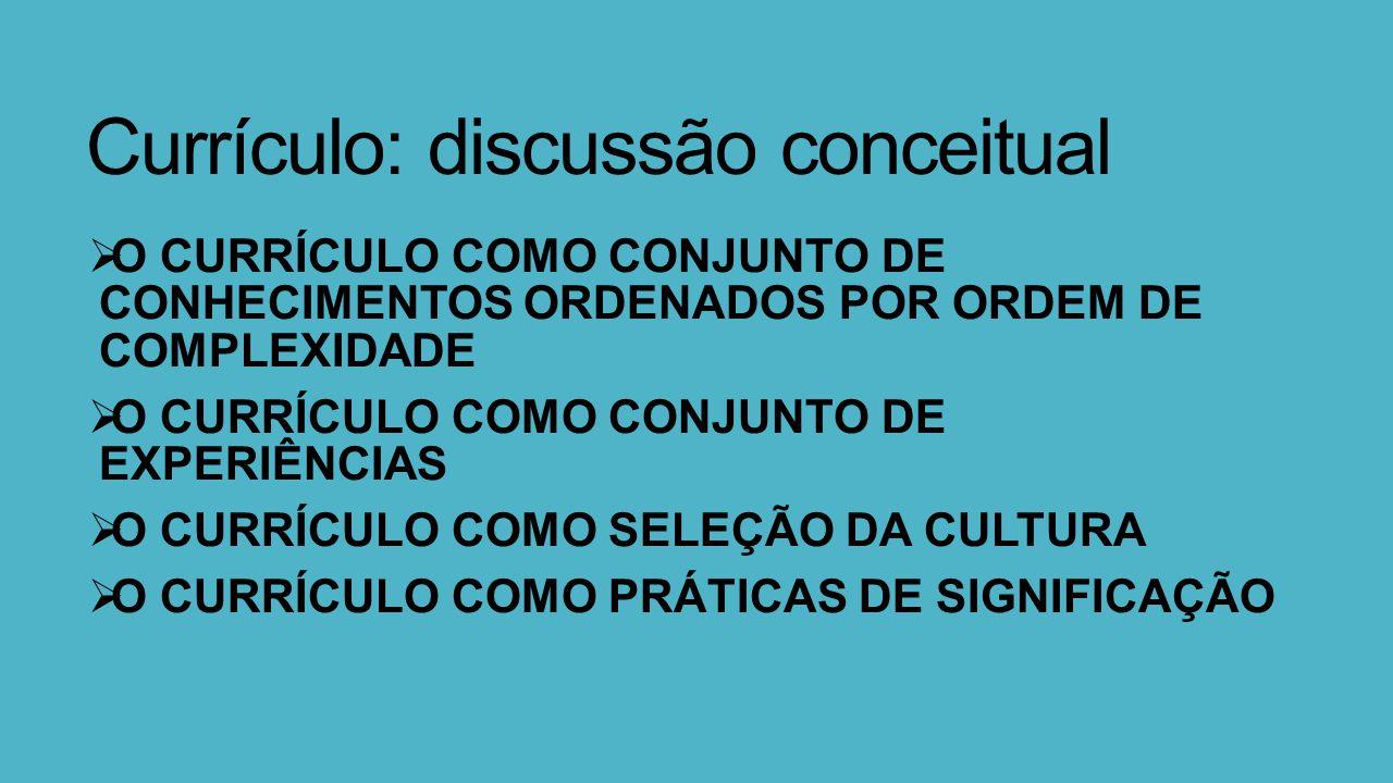 Currículo: discussão conceitual  O CURRÍCULO COMO CONJUNTO DE CONHECIMENTOS ORDENADOS POR ORDEM DE COMPLEXIDADE  O CURRÍCULO COMO CONJUNTO DE EXPERIÊNCIAS  O CURRÍCULO COMO SELEÇÃO DA CULTURA  O CURRÍCULO COMO PRÁTICAS DE SIGNIFICAÇÃO