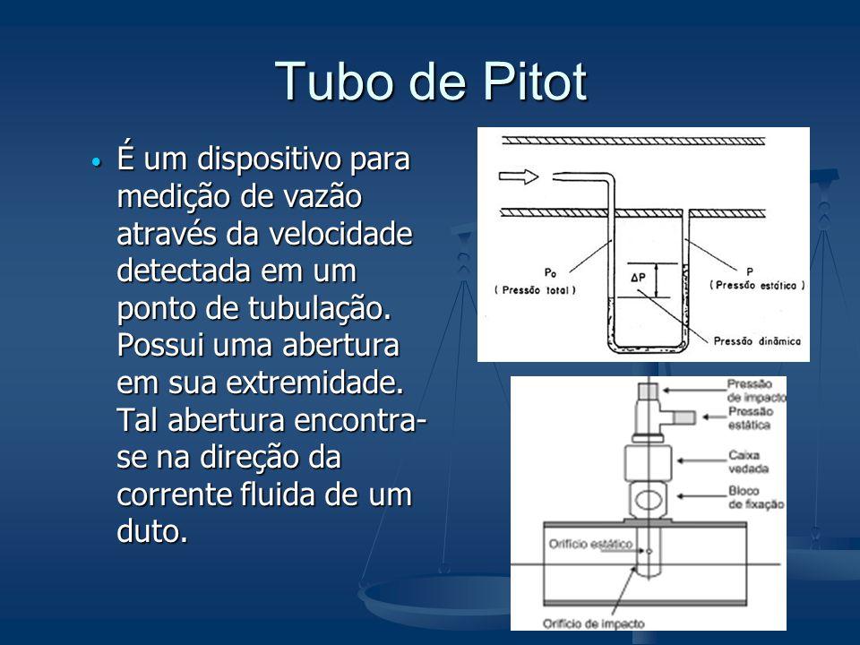 Tubo de Pitot  É um dispositivo para medição de vazão através da velocidade detectada em um ponto de tubulação. Possui uma abertura em sua extremidad