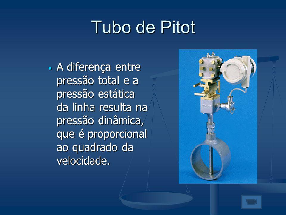 Tubo de Pitot  A diferença entre pressão total e a pressão estática da linha resulta na pressão dinâmica, que é proporcional ao quadrado da velocidad