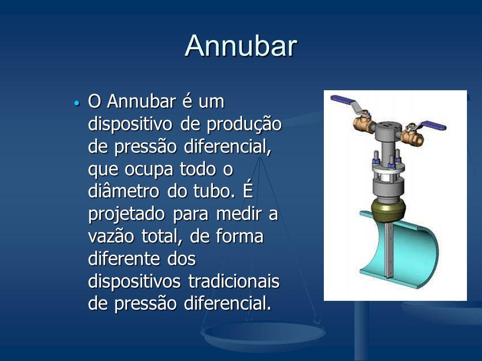 Annubar  O Annubar é um dispositivo de produção de pressão diferencial, que ocupa todo o diâmetro do tubo. É projetado para medir a vazão total, de f