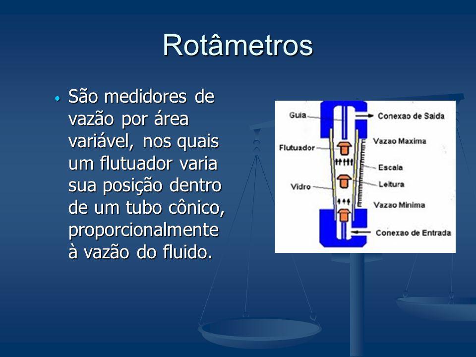 Rotâmetros  São medidores de vazão por área variável, nos quais um flutuador varia sua posição dentro de um tubo cônico, proporcionalmente à vazão do