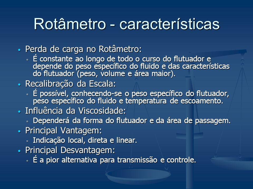 Rotâmetro - características  Perda de carga no Rotâmetro: ◦ É constante ao longo de todo o curso do flutuador e depende do peso específico do fluido