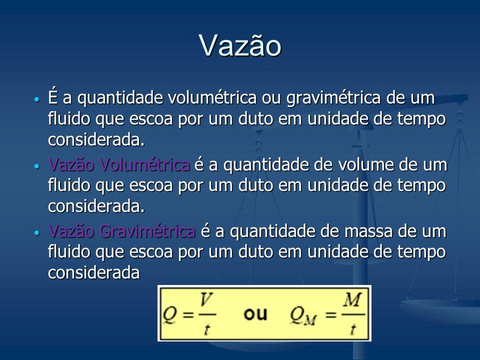 Vazão  É a quantidade volumétrica ou gravimétrica de um fluido que escoa por um duto em unidade de tempo considerada.  Vazão Volumétrica é a quantid