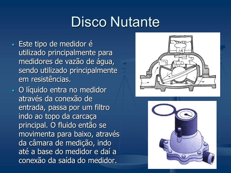 Disco Nutante  Este tipo de medidor é utilizado principalmente para medidores de vazão de água, sendo utilizado principalmente em resistências.  O l