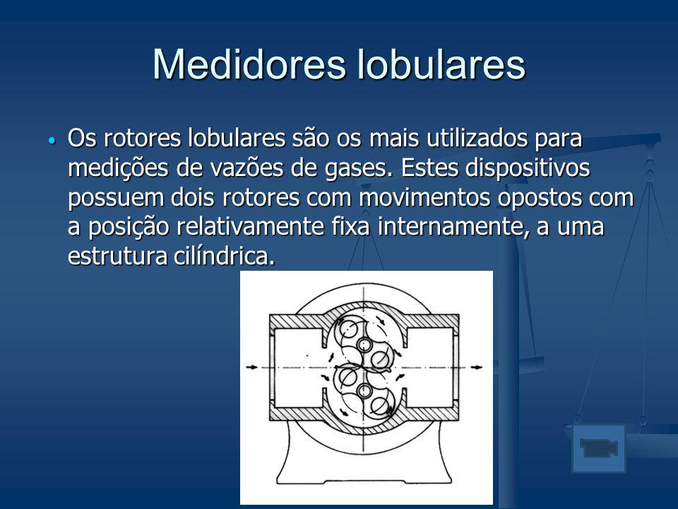 Medidores lobulares  Os rotores lobulares são os mais utilizados para medições de vazões de gases. Estes dispositivos possuem dois rotores com movime