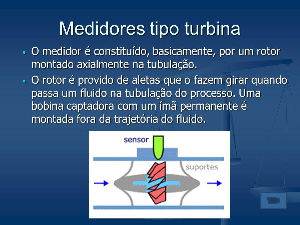 Medidores tipo turbina  O medidor é constituído, basicamente, por um rotor montado axialmente na tubulação.  O rotor é provido de aletas que o fazem