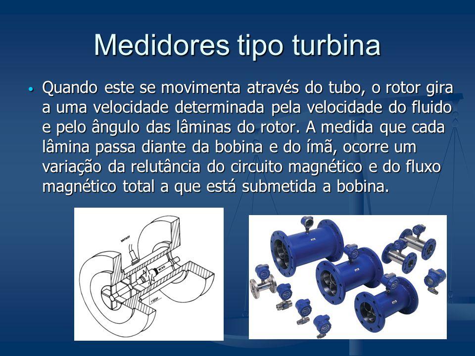 Medidores tipo turbina  Quando este se movimenta através do tubo, o rotor gira a uma velocidade determinada pela velocidade do fluido e pelo ângulo d