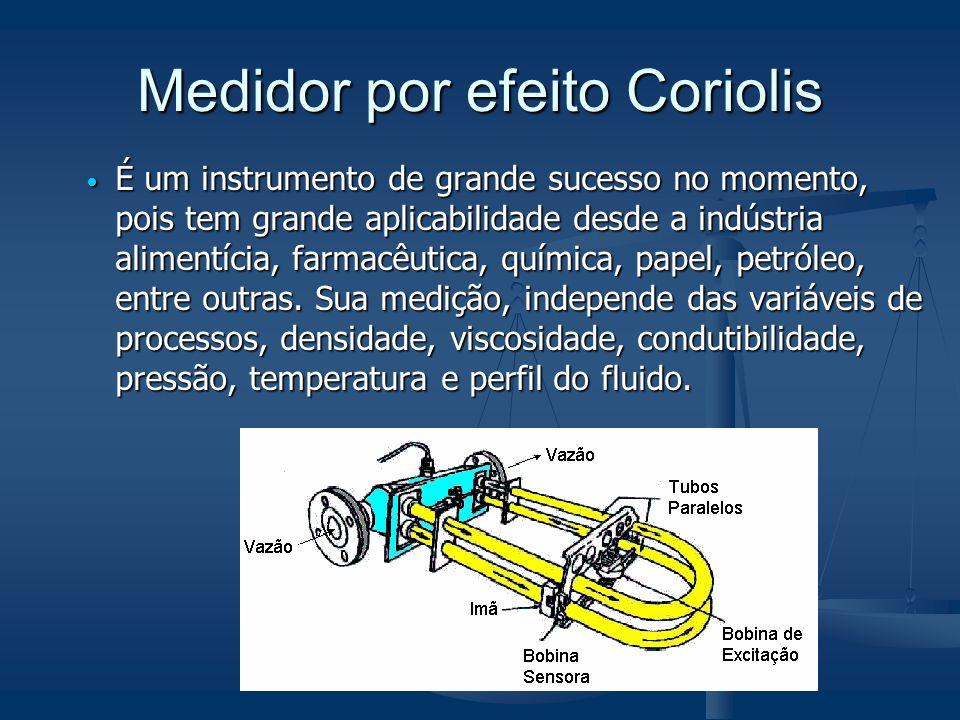 Medidor por efeito Coriolis  É um instrumento de grande sucesso no momento, pois tem grande aplicabilidade desde a indústria alimentícia, farmacêutic