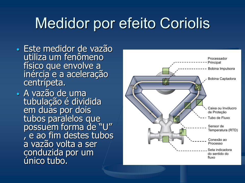 Medidor por efeito Coriolis  Este medidor de vazão utiliza um fenômeno físico que envolve a inércia e a aceleração centrípeta.  A vazão de uma tubul