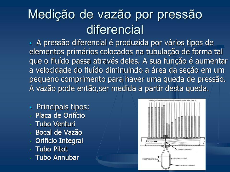 Medição de vazão por pressão diferencial  A pressão diferencial é produzida por vários tipos de elementos primários colocados na tubulação de forma t