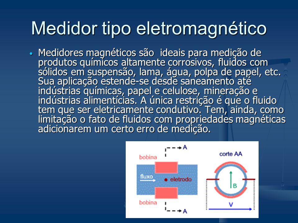  Medidores magnéticos são ideais para medição de produtos químicos altamente corrosivos, fluidos com sólidos em suspensão, lama, água, polpa de papel