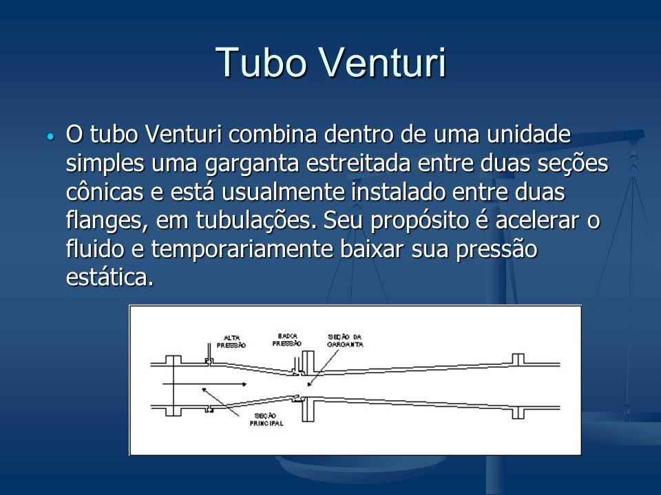 Tubo Venturi  O tubo Venturi combina dentro de uma unidade simples uma garganta estreitada entre duas seções cônicas e está usualmente instalado entr