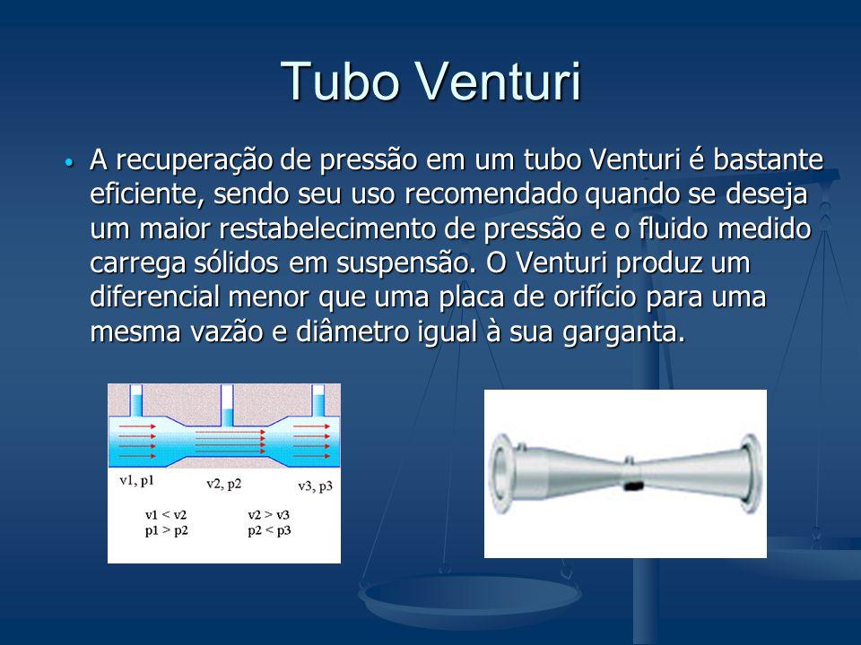 Tubo Venturi  A recuperação de pressão em um tubo Venturi é bastante eficiente, sendo seu uso recomendado quando se deseja um maior restabelecimento