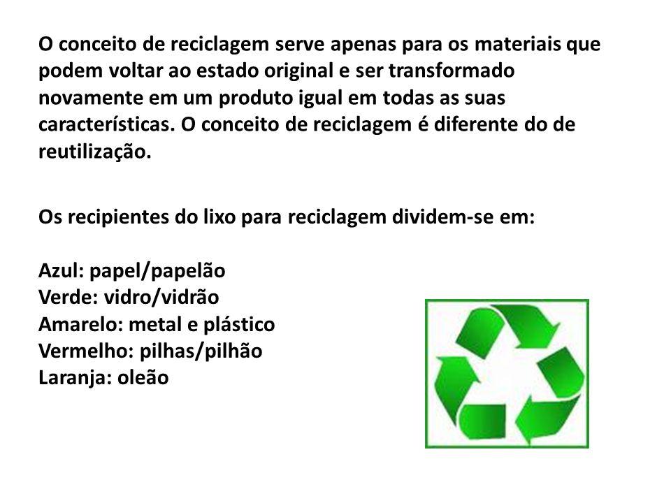 O conceito de reciclagem serve apenas para os materiais que podem voltar ao estado original e ser transformado novamente em um produto igual em todas