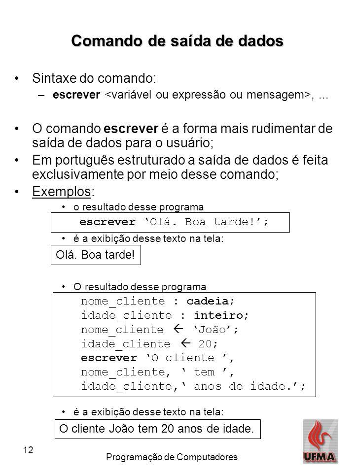 12 Programação de Computadores Comando de saída de dados •Sintaxe do comando: –escrever,... •O comando escrever é a forma mais rudimentar de saída de