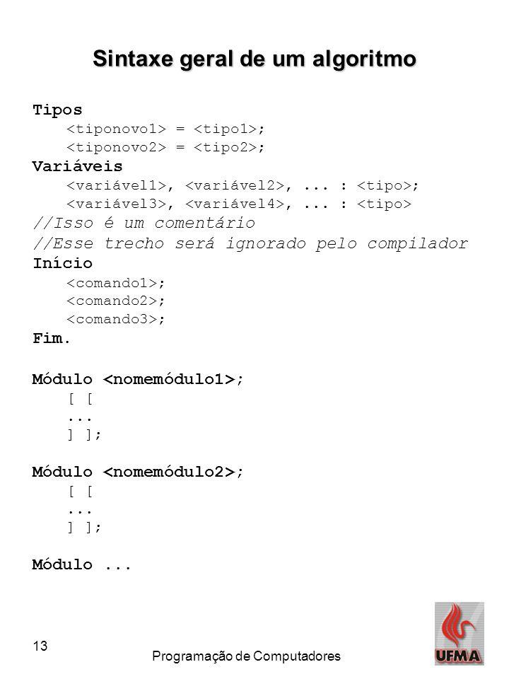 13 Programação de Computadores Sintaxe geral de um algoritmo Tipos = ; Variáveis,,... : ;,,... : //Isso é um comentário //Esse trecho será ignorado pe