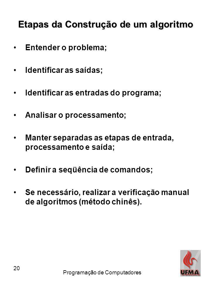 20 Programação de Computadores Etapas da Construção de um algoritmo •Entender o problema; •Identificar as saídas; •Identificar as entradas do programa
