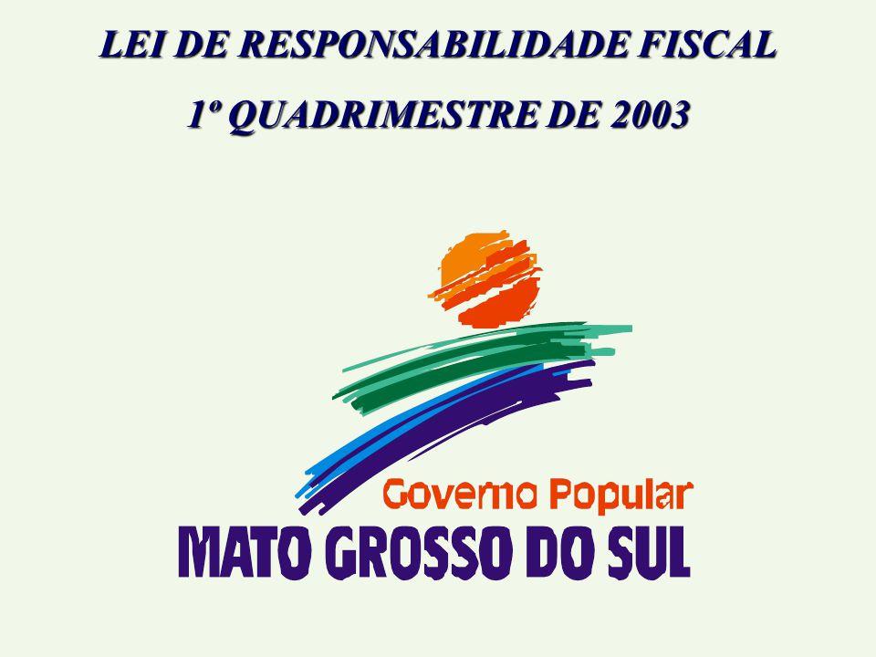 LEI DE RESPONSABILIDADE FISCAL 1º QUADRIMESTRE DE 2003