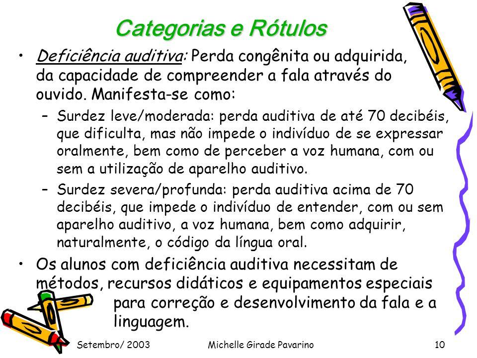 Setembro/ 2003Michelle Girade Pavarino10 Categorias e Rótulos •Deficiência auditiva: Perda congênita ou adquirida, da capacidade de compreender a fala através do ouvido.