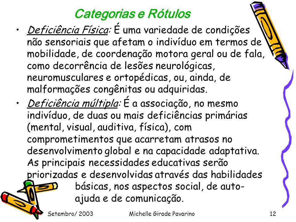 Setembro/ 2003Michelle Girade Pavarino12 Categorias e Rótulos •Deficiência Física: É uma variedade de condições não sensoriais que afetam o indivíduo em termos de mobilidade, de coordenação motora geral ou de fala, como decorrência de lesões neurológicas, neuromusculares e ortopédicas, ou, ainda, de malformações congênitas ou adquiridas.