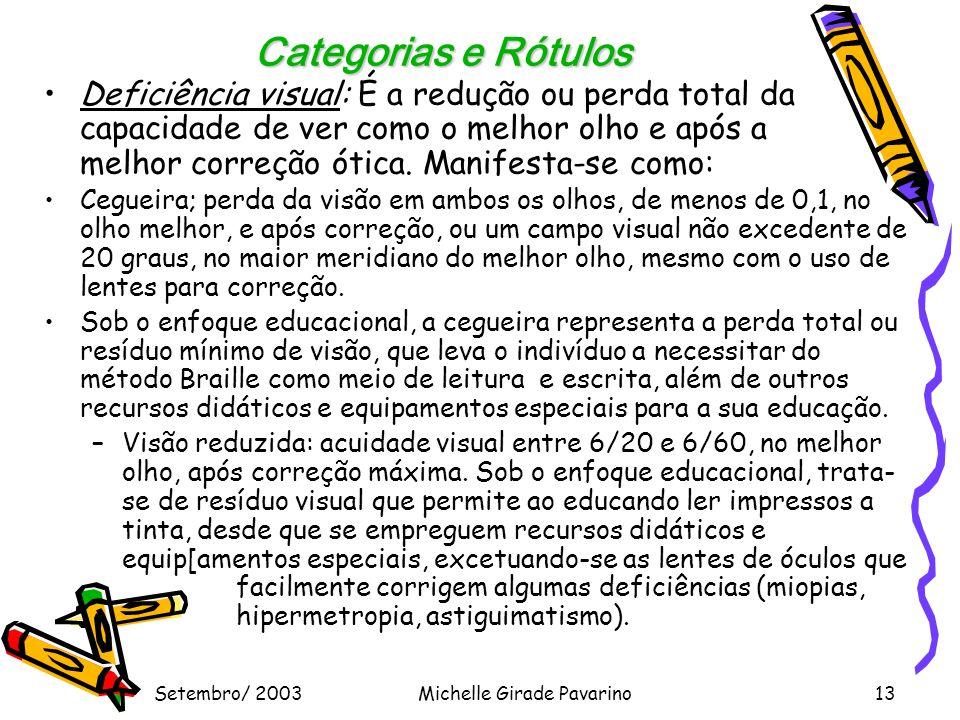 Setembro/ 2003Michelle Girade Pavarino13 Categorias e Rótulos •Deficiência visual: É a redução ou perda total da capacidade de ver como o melhor olho e após a melhor correção ótica.