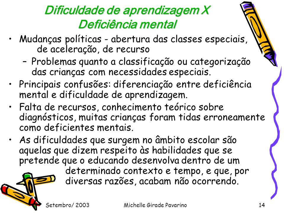 Setembro/ 2003Michelle Girade Pavarino14 Dificuldade de aprendizagem X Deficiência mental •Mudanças políticas - abertura das classes especiais, de aceleração, de recurso –Problemas quanto a classificação ou categorização das crianças com necessidades especiais.