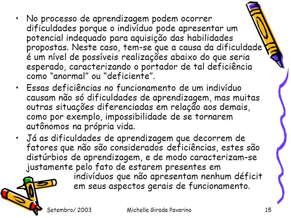 Setembro/ 2003Michelle Girade Pavarino15 •No processo de aprendizagem podem ocorrer dificuldades porque o indivíduo pode apresentar um potencial indequado para aquisição das habilidades propostas.