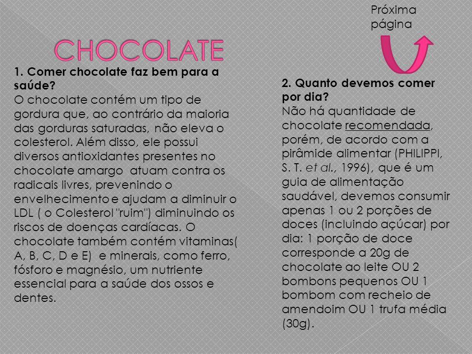 1.Comer chocolate faz bem para a saúde.
