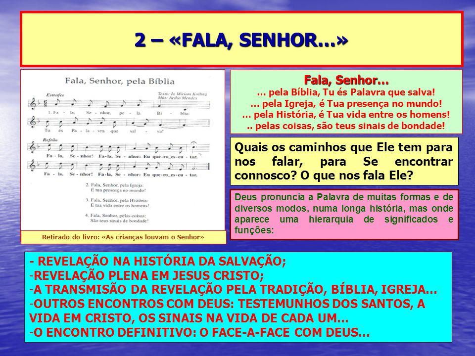 2 – «FALA, SENHOR…» Fala, Senhor… … pela Bíblia, Tu és Palavra que salva! … pela Igreja, é Tua presença no mundo! … pela História, é Tua vida entre os